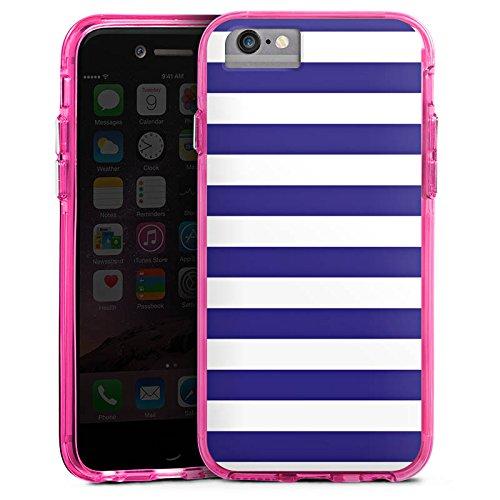 Apple iPhone 6 Plus Bumper Hülle Bumper Case Glitzer Hülle Marine Weiss Blau Streifen Bumper Case transparent pink