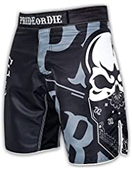 "Fight Short Sport MMA PRiDEorDiE ""RECKLESS"" Black & White"