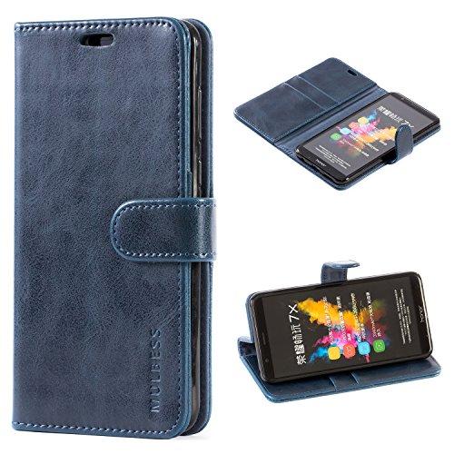 Mulbess Handyhülle für Honor 7X Hülle, Leder Flip Case Schutzhülle für Huawei Honor 7X Tasche, Dunkel Blau