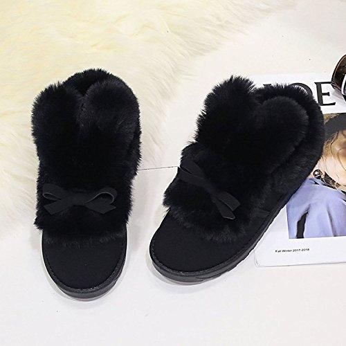 HSXZ Scarpe da donna in pelle Nubuck Winter Snow Boots stivali tacco piatto Round Toe stivaletti/Stivaletti Bowknot di abbigliamento casual rosa grigio nero Pink