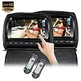 2x9'' touch screen 1080P auto poggiatesta lettore DVD monitor video con cover in pelle cerniera FM e trasmettitore IR giochi per bambini Road Trips Entertainment System (999)