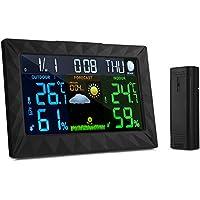 ZEEPIN Estación meteorológica con pronóstico de color digital con sensor inalámbrico de temperatura interior/exterior Humedad con indicador de presión barométrica