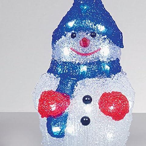 Batterie Premier 22cm LED acrylique bonhomme de neige de Noël de lumière 24 LED utilisation en intérieur