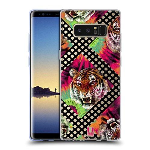 Head Case Designs Tiger Batik Kravatte Und Vermaschte Drucke Soft Gel Hülle für Samsung Galaxy Note8 / Note 8