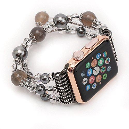 Altsommer Mode Sport Schwarz Stein Armband Strap Band für Apple Watch Serie 2/1 42mm, Ersatzarmbänder Replacement Wrist Band, Armband Uhrenarmband, Ersatzarmband Zubehör Verstellbares Band Uhren