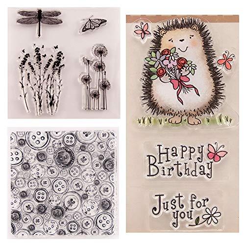 3 Stück/Lot Button Hintergrund Happy Birthday Igel Löwenzahn Lavendel Stempel Gummi Clear Stempel Scrapbook Fotoalbum Dekorative Karten machen klare Stempel