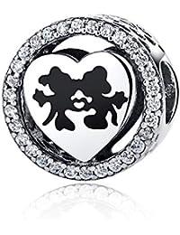 NINGAN - Disney, Mickey & Minnie Love, Abalorio de Plata de Ley 925 con Encanto Transparente, Compatible con Pulseras Pandora y Otras Pulseras de Abalorios Europeas