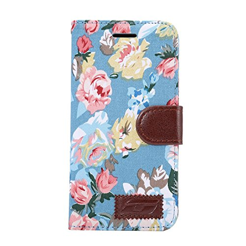 [A4E] Handyhülle passend für LG G5 (LGH850) Kunstleder Tasche, Flip Cover, seitlicher Magnetverschluss, Standfuß, Kreditkartenfächer - mit schönem floralen Blumenmuster (blau, rot)