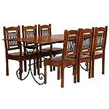 Festnight Esstisch mit 6 Stühlen | Vintage Essgruppe Stühle 7-TLG. | Holz Esszimmer Set | Tischgruppe Esstischgruppe | Massives Akazienholz mit Sheesham-Finish