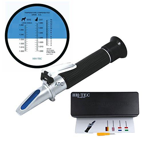 Klinische Refraktometer (HH-TEC Klinisches Refraktometer Veterinär Handrefraktometer Tierarzt Veterinärmedizin RHC-300 Serum Protein Urin Dichte für Haustier Hund(Großtieren) und Katze)