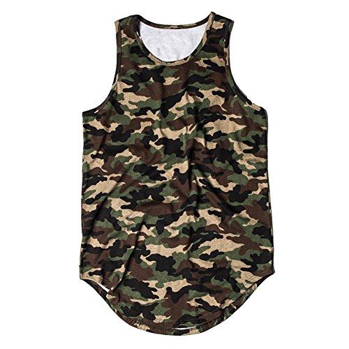 Camicia da Uomo Canotta Estesa da Yying Camouflage Uomo Streetwear Verde