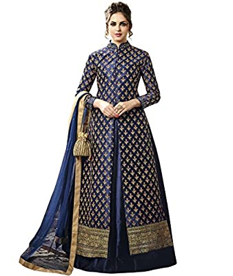 Indian Ethnic Satin Silk Navy Blue Abaya Suit Readymade