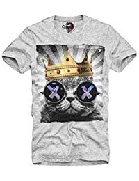 E1SYNDICATE T-SHIRT HIPSTER CAT LSD WASTED YOUTH ELEVEN DOPE ECSTASY XTC GRIS S-XL