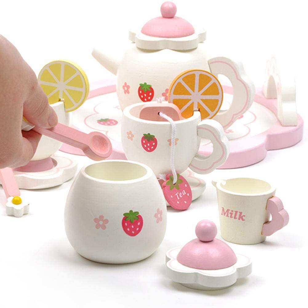 Eayse Servizio da tè in Legno Bambini Set Cucina Giocattolo Accessori  Cucina Giocattolo per Bambini Gioco di Ruolo Afternoon Tea Party