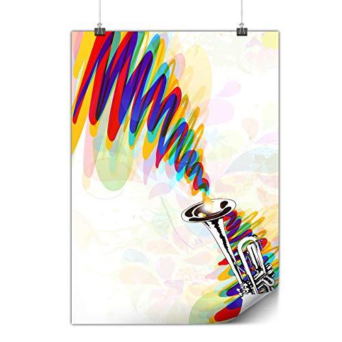 Wellcoda Trompete Jazz Kunst Musik Plakat Melodie A0 (119cm x 84cm) Glänzend schweres Papier, Ideal für die Gestaltung, Einfach zu hängen Kunst