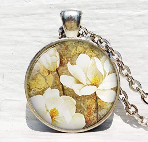 Magnolia Flower, Magnolia Halskette - Magnolia Glas-anhänger