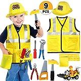 Bauarbeiter Kostüm Kinder Handwerker Kinderkostüm Rollenspiel Set mit Werkzeug und Fahrzeug Spielzeug für Karneval Halloween Fasching