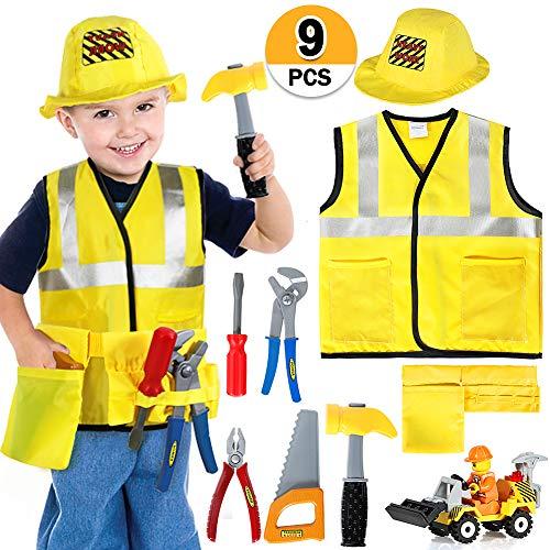 Bauarbeiter Kostüm Kinder Handwerker Kinderkostüm Rollenspiel Set mit Werkzeug und Fahrzeug Spielzeug für Karneval Halloween ()