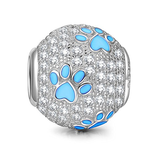 NinaQueen Puppy pata Abalorio de mujer de plata de ley Charms beads...