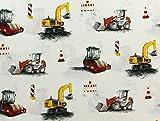 Baumwollstoff, Kinderstoff, Baumwollstoff Bagger & Traktor, Meterware ab 0,5 m