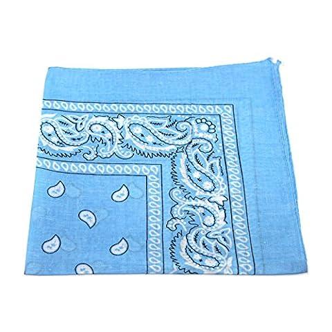 Men's/Women's Bandana Head or Neck Scarves Paisley Pattern 100% Cotton – Baby Blue