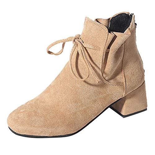 FeiBeauty Tether Wildlederstiefel Chelsea Booties dick mit Schleife Damenschuhe sowie samtige High Heels