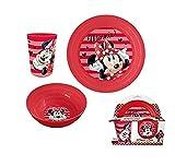 Kinder - Geschenkidee - 3 tgl Geschirr / Lunch Set- Disney Minnie Mouse- Teller + Müslischale+ Trinkbecher aus bruchsicherem Kunststoff