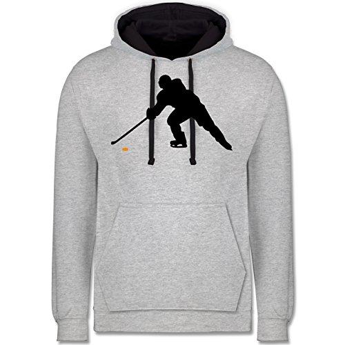 Eishockey - Hockey Player - Kontrast Hoodie Grau meliert/Dunkelblau