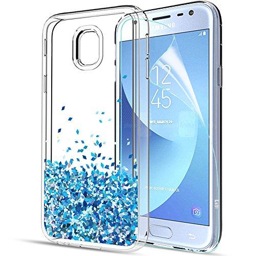 LeYi Compatible with Handyhülle Samsung Galaxy J3 2017 Glitzer Hülle, Treibsand Cover TPU Silikon Bumper Smartphone Handy Hüllen mit HD-Schutzfolie für Galaxy j3 2017 Pro Duos 2017 Case ZX Blau