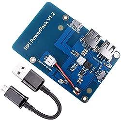Quimat Bateria de Litio para Raspberry Pi, Paquete de Fuente de Alimentacion 3800mAh + micro Cable USB para Pi 3 2 Modelo A A + B B