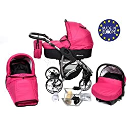 Baby Sportive Allivio - Sistema de viaje 3 en 1, silla de paseo, carrito con capazo y silla de coche, RUEDAS GIRATORIAS y accesorios, color fucsia