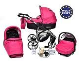 ALLIVIO - Landau pour bébé + Siège Auto - Poussette - Système 3en1, incluant sac à langer et protection pluie et moustique (Système 3en1, rose)