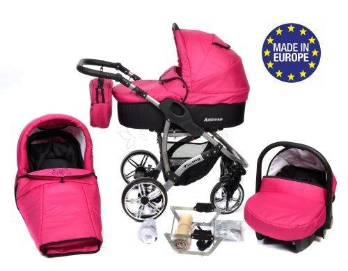 Allivio - 3 in 1 Reisesystem einschließlich Kinderwagen mit schwenkbaren Rädern, Kinderautositz, Buggy und Zubehör (3 in 1 Reisesystem, Schwarz und Rosa)