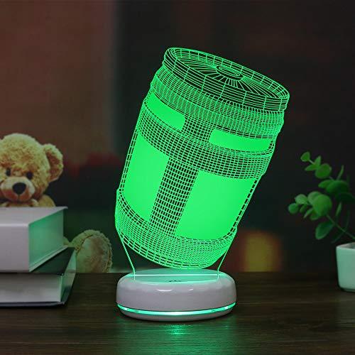 Porzellan White Base Festung Nachtspiel Energie Tank 3d Lampe Led Dekorative Nachtlampe 7 Farbverfärbung Acryl-lampe Farbenfroher Touch (USB-Netzteil mit Fernbedienung) -