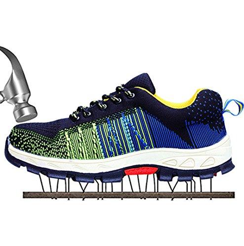 SUADEEX Damen Herren Sicherheitsschuhe Sportlich Trekking Wanderhalbschuhe Stahlkappe Arbeitsschuhe Hiking Schuhe Traillaufschuhe, 02-grün, 43 EU