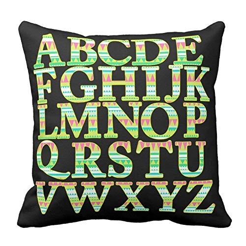 Hectwya Home Decorative Green Pink Geometry Triangles English Alphabet Printed Throw Pillow Cover
