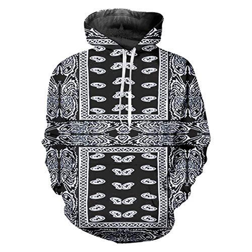 Herren Funny Print Schwarz 3D Sweatshirt Hip Hop Streetwear Cashew Blume Mit Kapuze Bandana Paisley M -