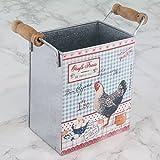 Huevos frescos Metal Cocina lata de almacenamiento con asas H14x W10x D7cm