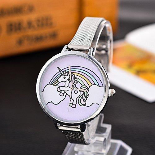 Souarts Damen Armbanduhr Einfach Mesh Metallarmband Flamingo Ananas Einhorn Regenbogen Casual Analoge Quarz Uhr Silber Farbe Einhorn Mädchen Uhr (Einhorn)
