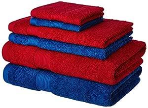 Amazon Brand - Solimo 100% Cotton 6 Piece Towel Set, 500 GSM (Iris Blue and Spanish Red)