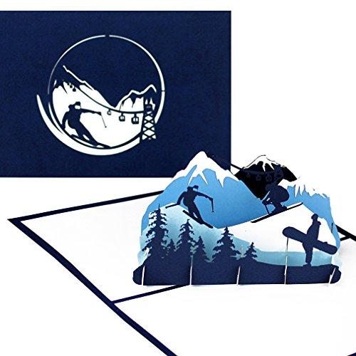 """Pop Up Karte \""""Ski & Snowboard\"""" - 3D Geburtstagskarte, Einladungskarte & Geschenkgutschein - als Reisegutschein, Einladung, Geschenkverpackung und Gutschein zum Ski Urlaub & Snowboardfahren"""