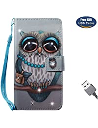 Aireratze Funda iPhone 8,Cover iPhone 7, Billetera Libro Cuero,PU Leather TPU Silicona 3D Smooth Surface [Correa Mano] Soporte Ranuras Tarjetas Billeterapara iPhone 8/iPhone 7 (Baby Owl)