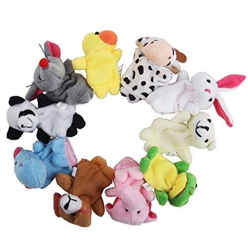 niceeshop(TM) Muñecos Marionetas de Dedo de Terciopelo de Estilo Animal Lindo, Juego de 10