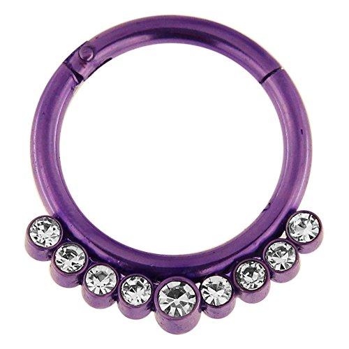 14 Gauge - 12 MM Durchmesser lila eloxiert Chirurgenstahl 9 Kristallsteinen gepflastert klappbar Segment Septum Nase Piercing Ring