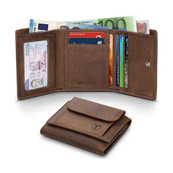 Portafoglio Uomo Piccolo Sottile Blocco RFID Vera Pelle d'olio Trifold con Tasca della moneta Porta Carte Di Credito e… 1 spesavip