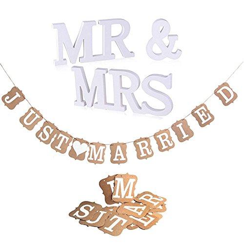 """CozofLuv MR & MRS Deko Buchstaben Hochzeit Dekobuchstaben, Vintage/Rustikal Kraft Paper """"Just Married,Hochzeits-Girlande, Banner Girlande Dekoration (MR & MRS+Just Married Banner)"""