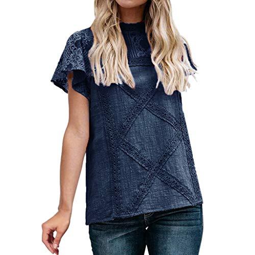 iHENGH Damen Sommer Top Bluse Bequem Lässig Mode T-Shirt Blusen Frauen Womens Lace Patchwork Flare Rüschen Kurzarm niedlichen Blumenhemd Bluse Top(Marine, S) (Kostüm Deadpool Womens)