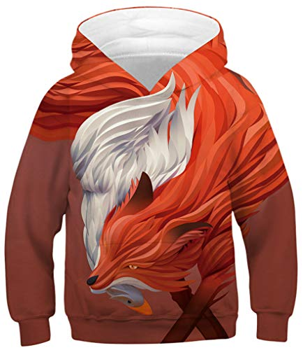 Ocean Plus Jungen Kapuzenpullover Bunt Teens Hoodie Kinder Langarm Pulli mit Kapuzen Sweatshirt Pullover (L (Körpergröße: 145-150cm), Roter Fuchs und weiße Gans) -
