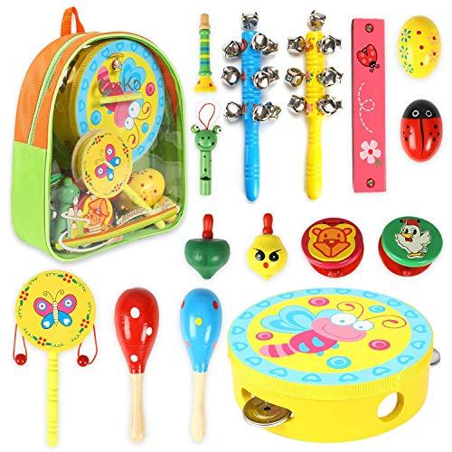CRZKO Musikinstrumente Kinder, 15 Stücke Holz Percussion Set Percussion Percussion Rhythmus Spielzeug Kleinkinder Instrument Set für Kinder und Baby mit Schultasche, Zufällige Farbprobe