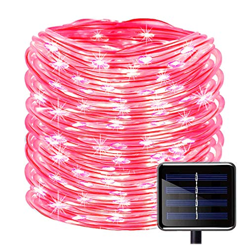 100LEDs Schlauch Lichterkette,KINGCOO IP55 Wasserdicht 39ft/12m Solarlichterkette Röhrenlicht Seil Kupferdraht Weihnachtsbeleuchtung Lichter für Hochzeit Garden Party Außenlichterkette (Rot) (Seil-beleuchtung 12 Meter)